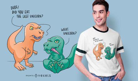 Diseño de camiseta divertido dinosaurio unicornio