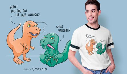 Diseño divertido de la camiseta del unicornio del dinosaurio