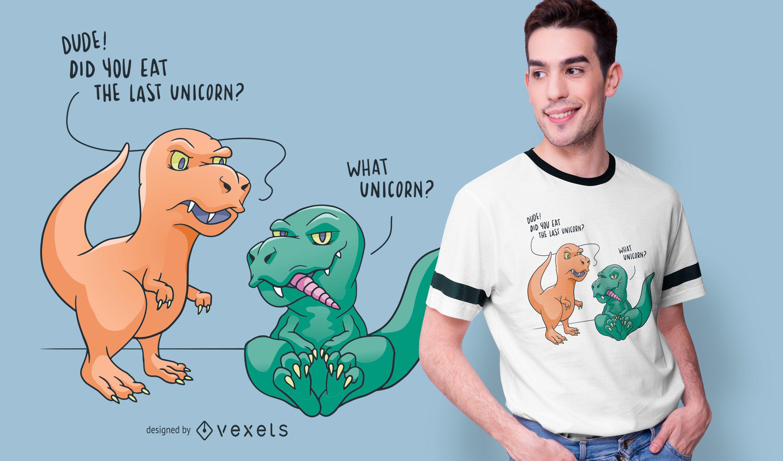 Funny Dinosaur Unicorn T-shirt Design