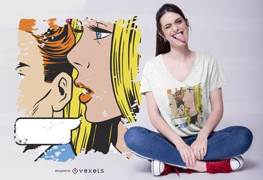 Design do t-shirt do sussurro da mulher do pop art