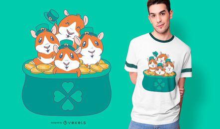 Diseño de camiseta de patricks de conejillos de Indias