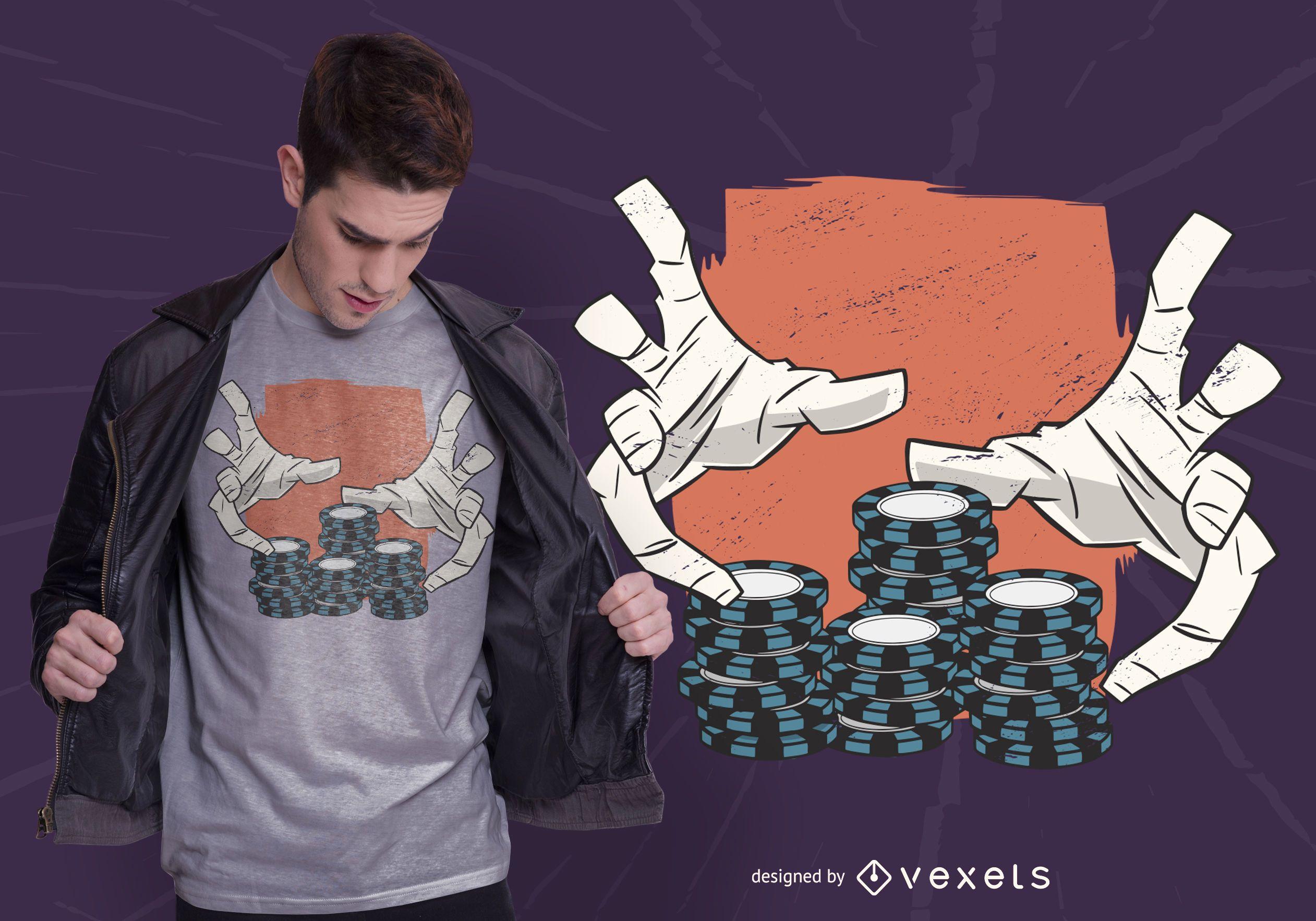 Diseño de camiseta de manos de casino.