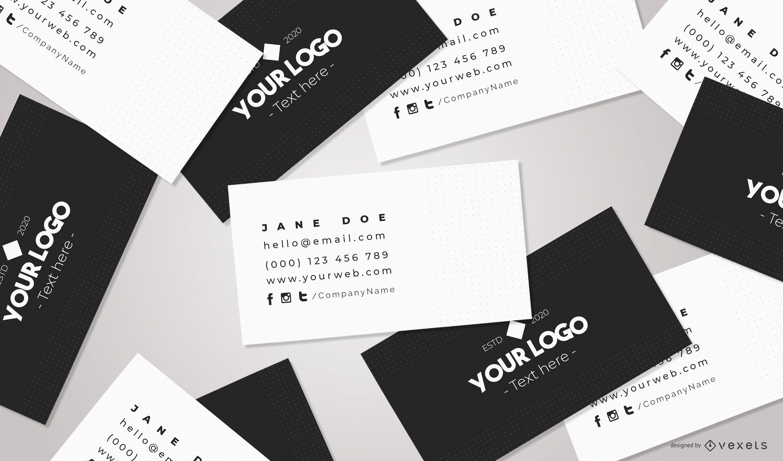 Composição da maquete de branding de cartões de visita