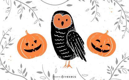 Abóbora de coruja de Halloween