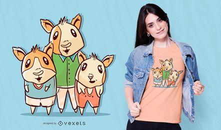 Diseño de camiseta de familia de conejillos de Indias.