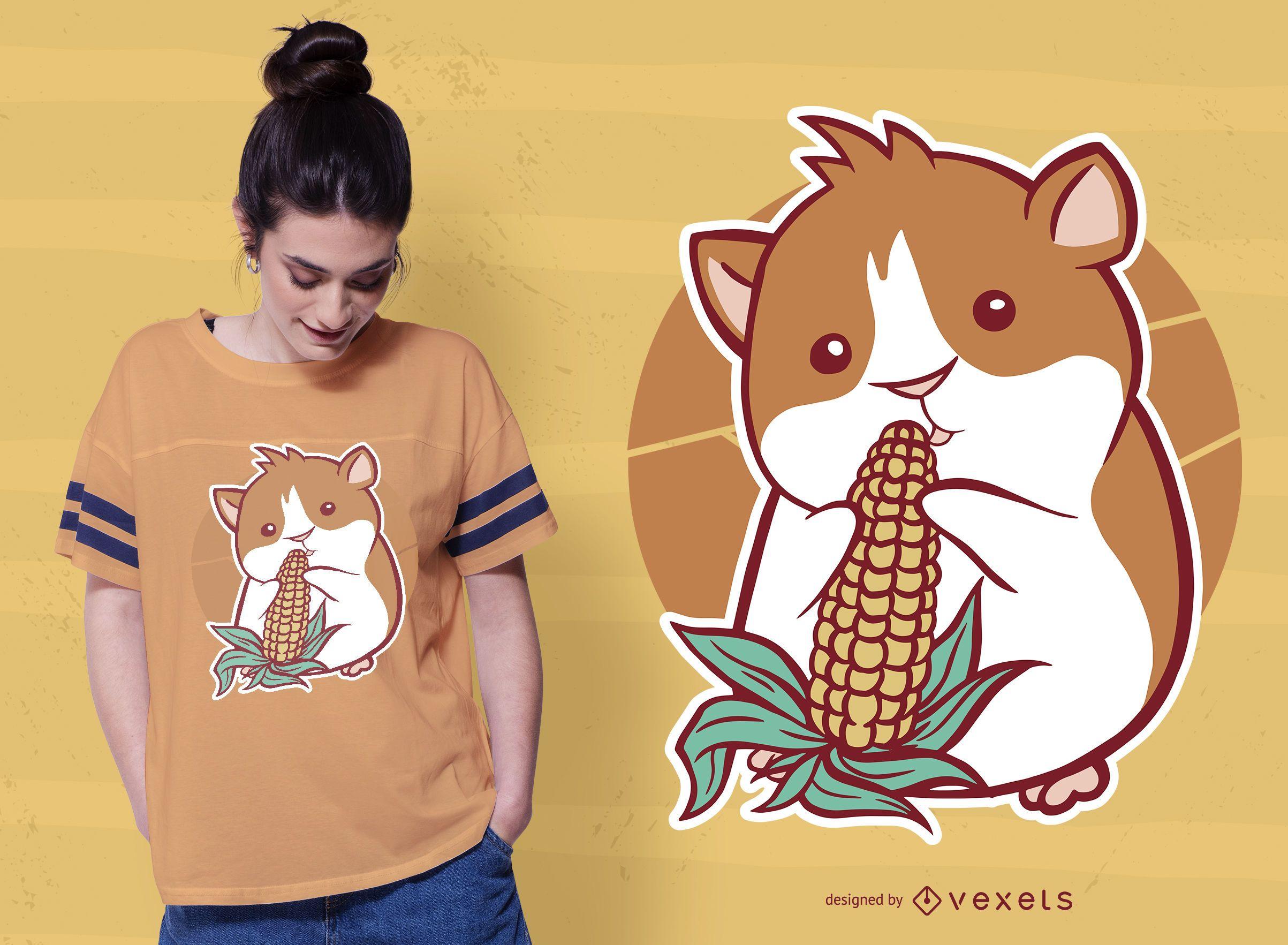 Design de camiseta de milho cobaia
