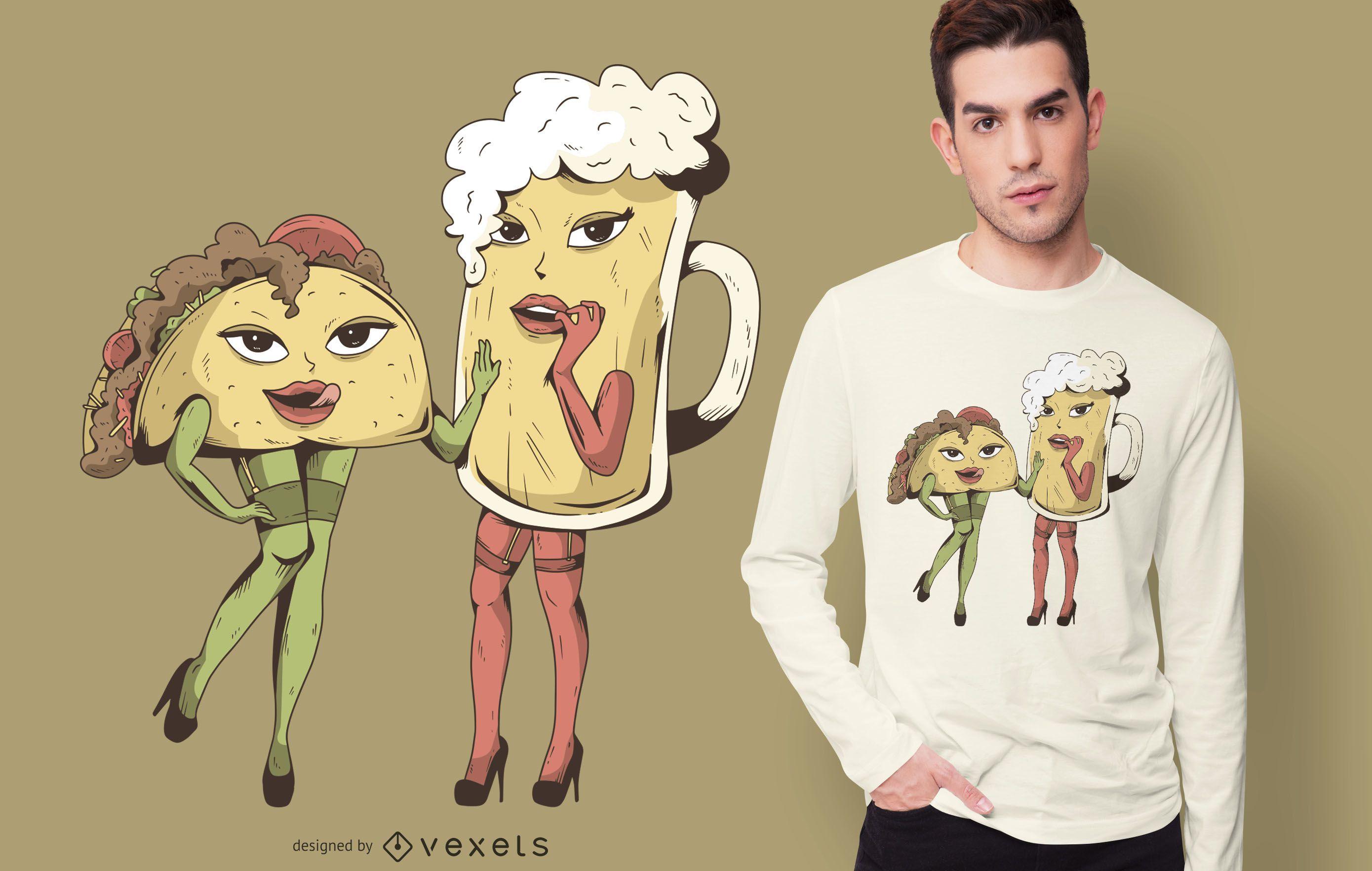 Sexy taco beer t-shirt design