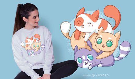 Gatos lindos jugando diseño de camiseta