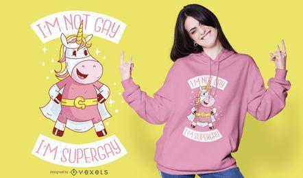 Diseño de camiseta de unicornio Supergay
