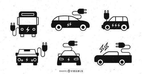 Conjunto de silueta de coche eléctrico
