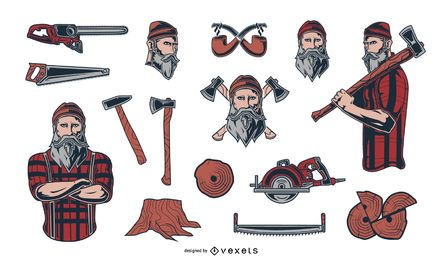 Lumberjack Illustration Elements Pack