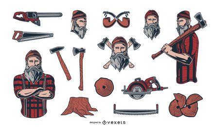 Pacote de elementos de ilustração de lenhador
