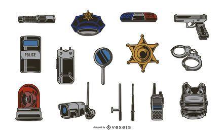 Pacote de ilustração de elementos policiais