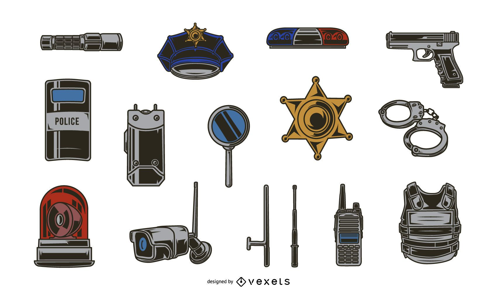Police Elements Illustration Pack
