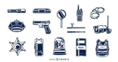 Pacote de silhueta de elementos de polícia