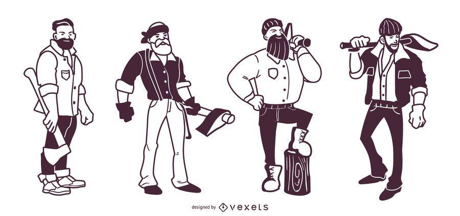 Lumberjack Stroke Characters Set