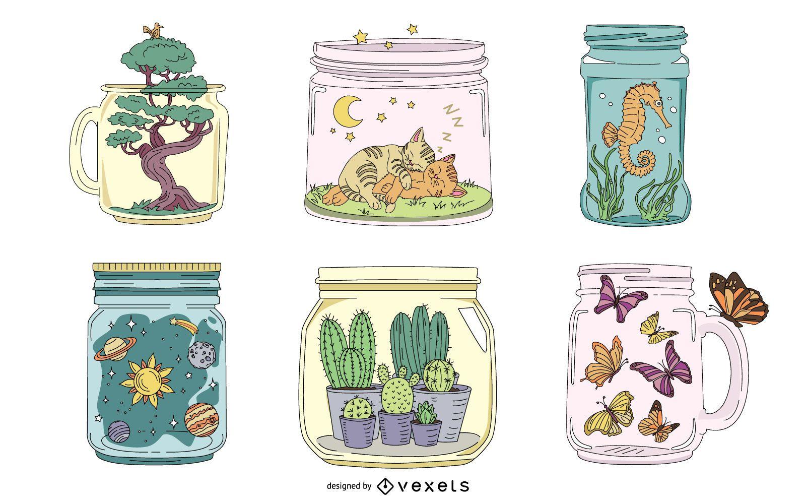 Paquete de ilustraciones hermosas de tarro de masón
