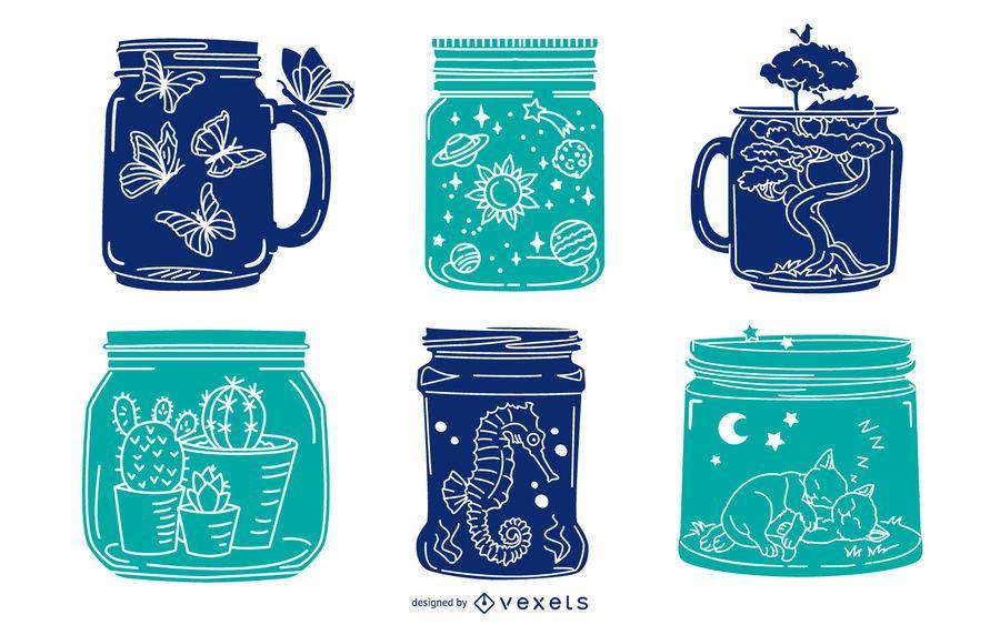 Mason Jar Illustration Silhouette Pack