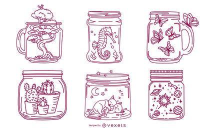 Pacote de ilustração de curso de frasco de pedreiro
