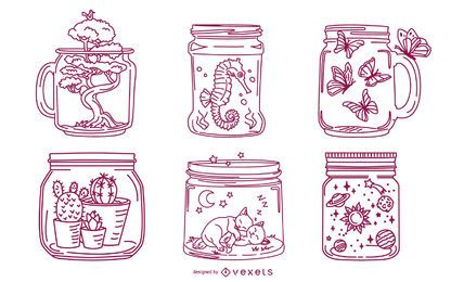 Paquete de ilustración de trazo de tarro de masón