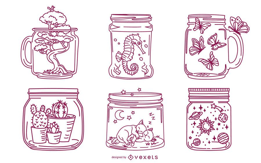 Mason Jar Stroke Illustration Pack