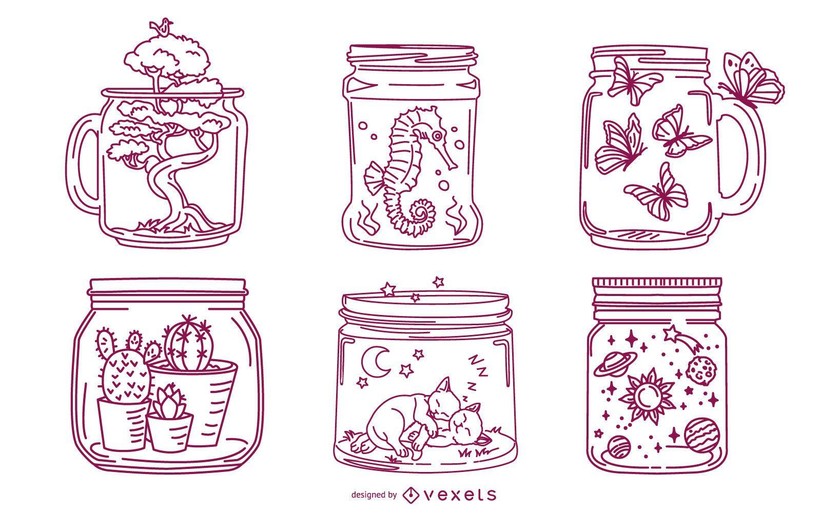 Mason Jar Stroke Illustration Pack