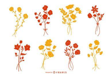 Conjunto de silueta de color de flor botánica