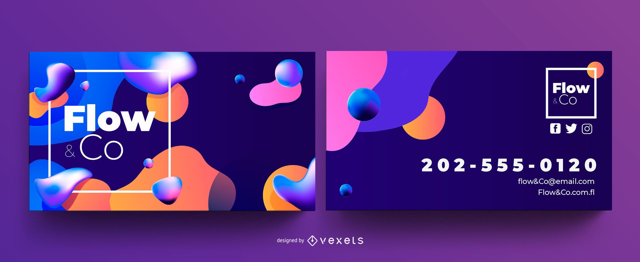 Plantilla de tarjeta de visita de flujo abstracto