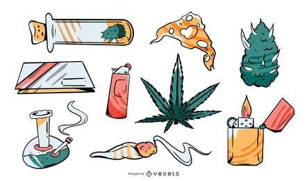 Pacote de ilustração de elementos de cannabis