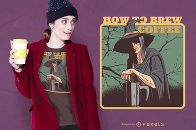 Design de camiseta de bruxa de café