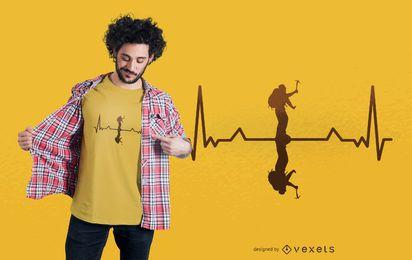 Design de camisetas Heartbeat Mountaineer