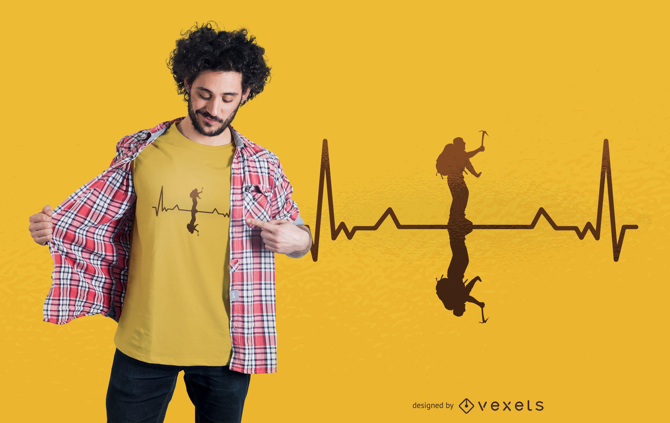 Diseño de camiseta Heartbeat Mountaineer