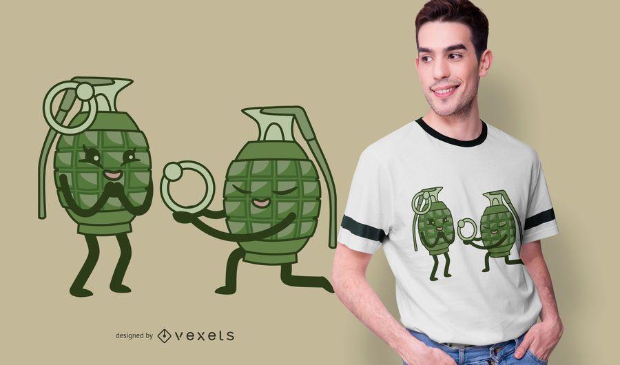 Design engraçado do t-shirt dos pares da granada