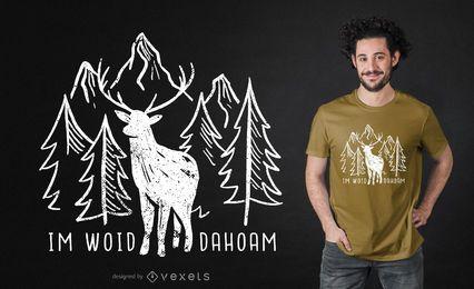 Design alemão do t-shirt dos cervos da floresta
