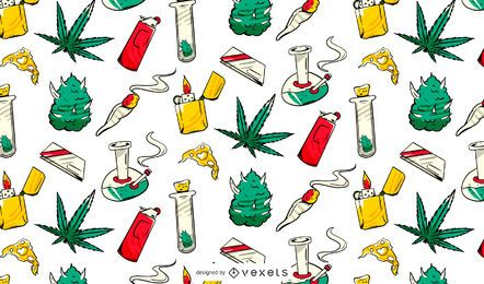 Cannabis Elements Pattern Design