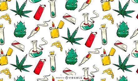 Design de padrão de elementos de cannabis