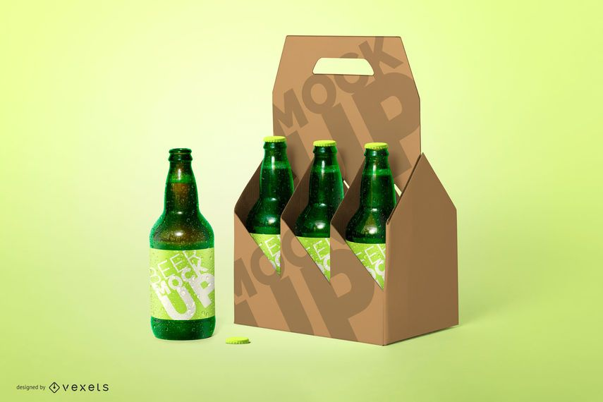 Six Pack Beer Bottle Mockup