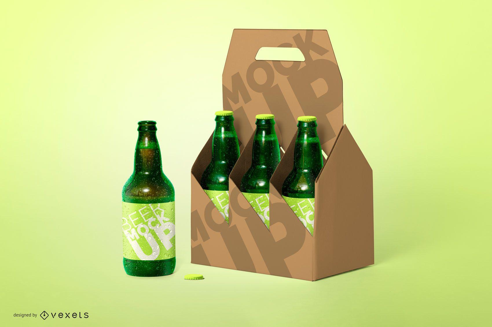Six Pack Beer Bottle Mockup