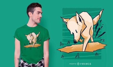 Diseño de camiseta de perro cavando