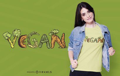 Diseño de camiseta de verduras veganas