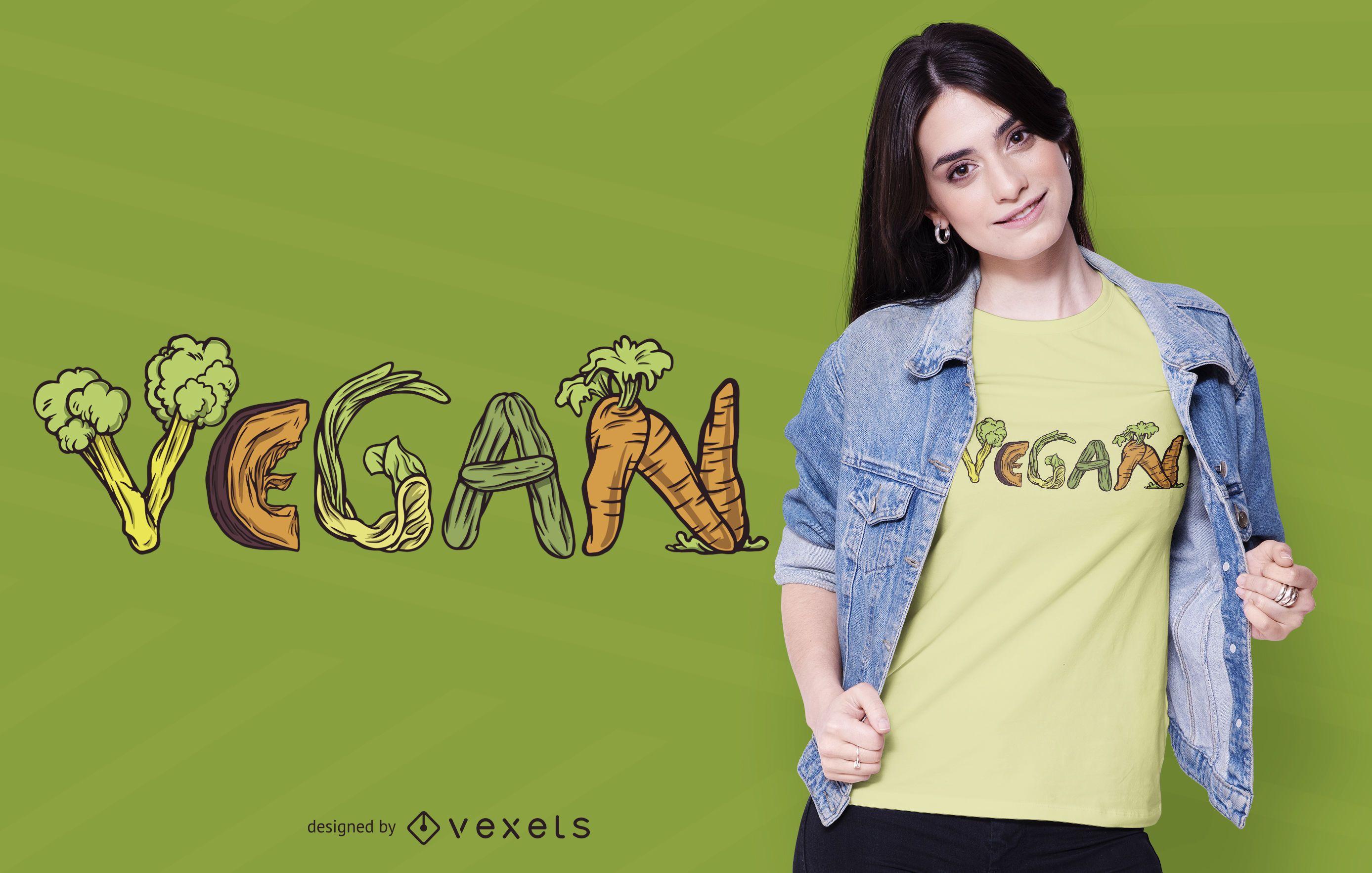 Design de camisetas de vegetais veganos