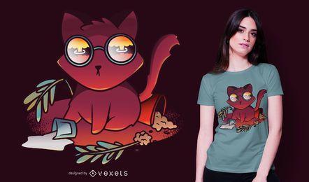 Diseño de camiseta de gato catástrofe