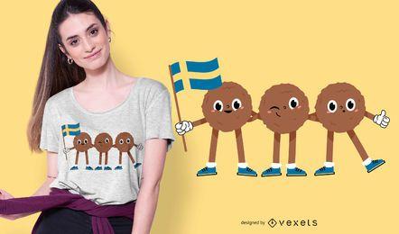 Diseño de camiseta de albóndigas suecas