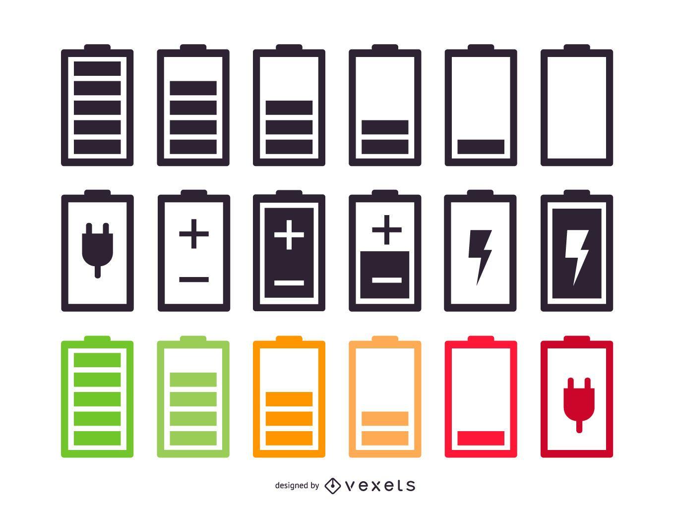 Conjunto de diseño de icono de batería