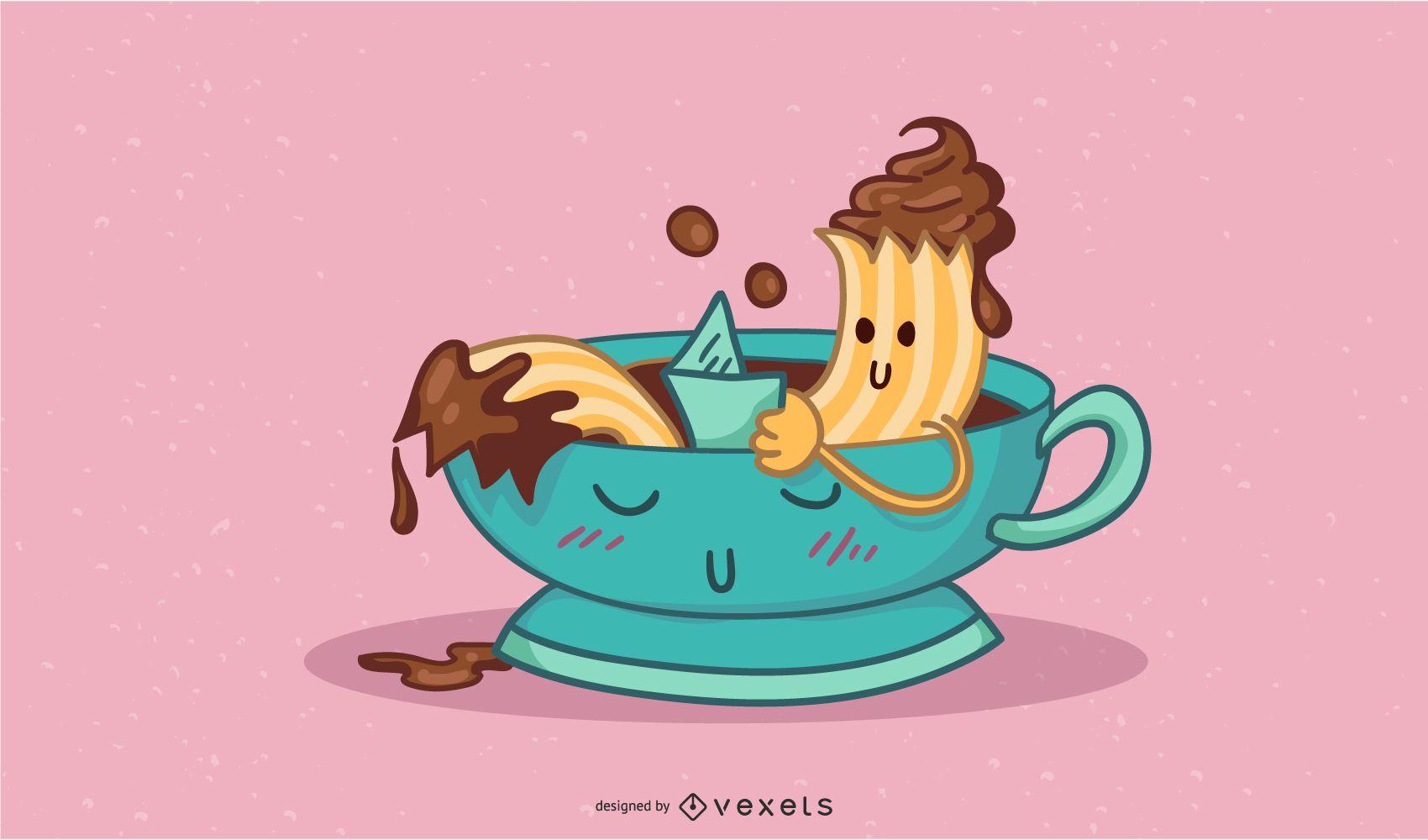 Ilustración de personaje de comida de chocolate churro
