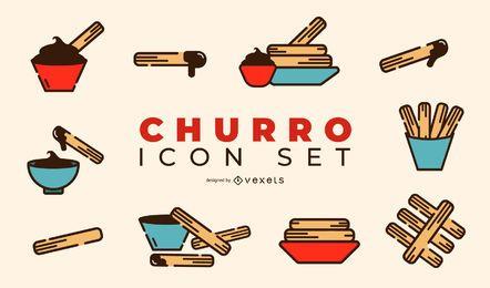 Conjunto de iconos de diseño Churro