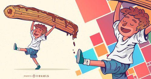 Schokoladen-Churro-Kindercharakter-Design
