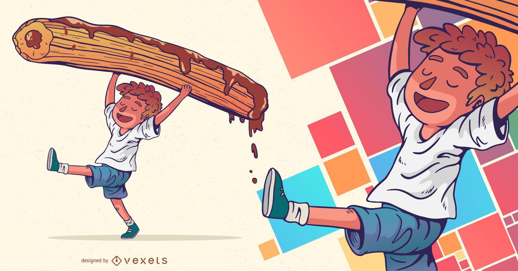 Diseño de personajes de chocolate Churro Kid