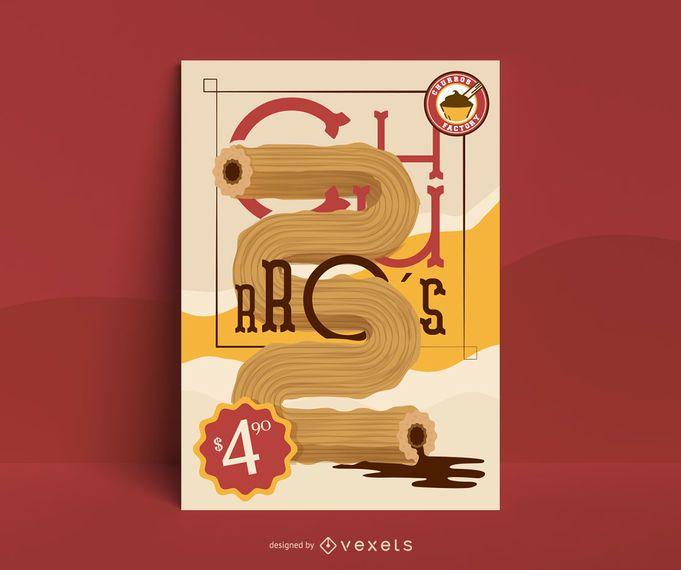Churro Illustration Poster Design