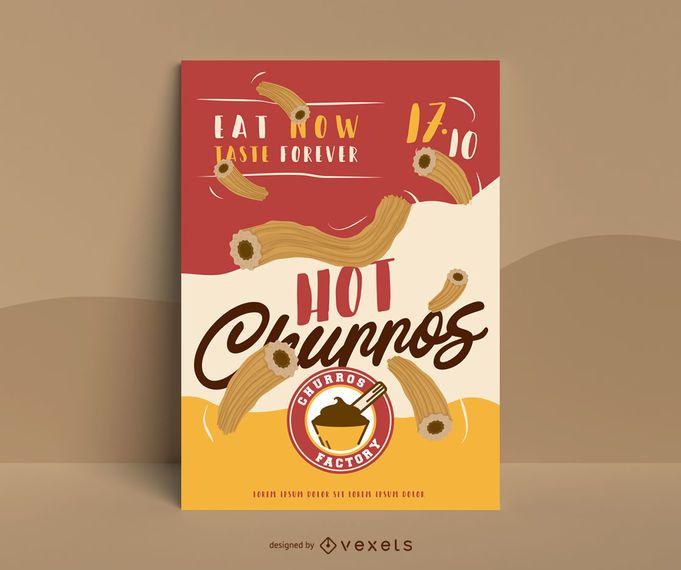 Diseño de carteles de eventos de comida churro